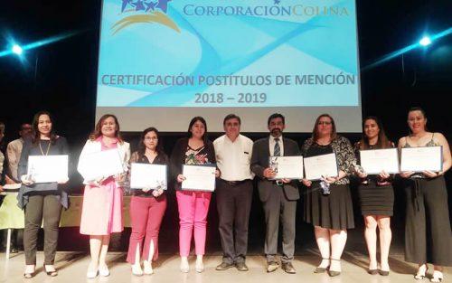 65 docentes de establecimientos municipales recibieron Certificación Postítulo de Mención