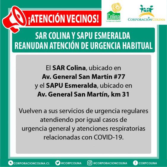 Sar Colina Y Sapu Esmeralda Reanudan Atención De Urgencia Habitual